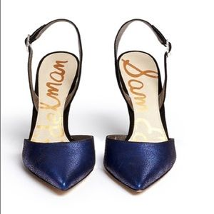 "Sam Edelman ""Dora"" metallic Crackled leather heels"